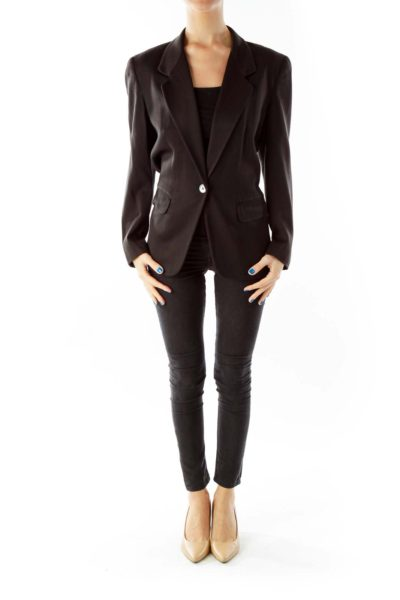 Black Pocketed Single-Breasted Blazer
