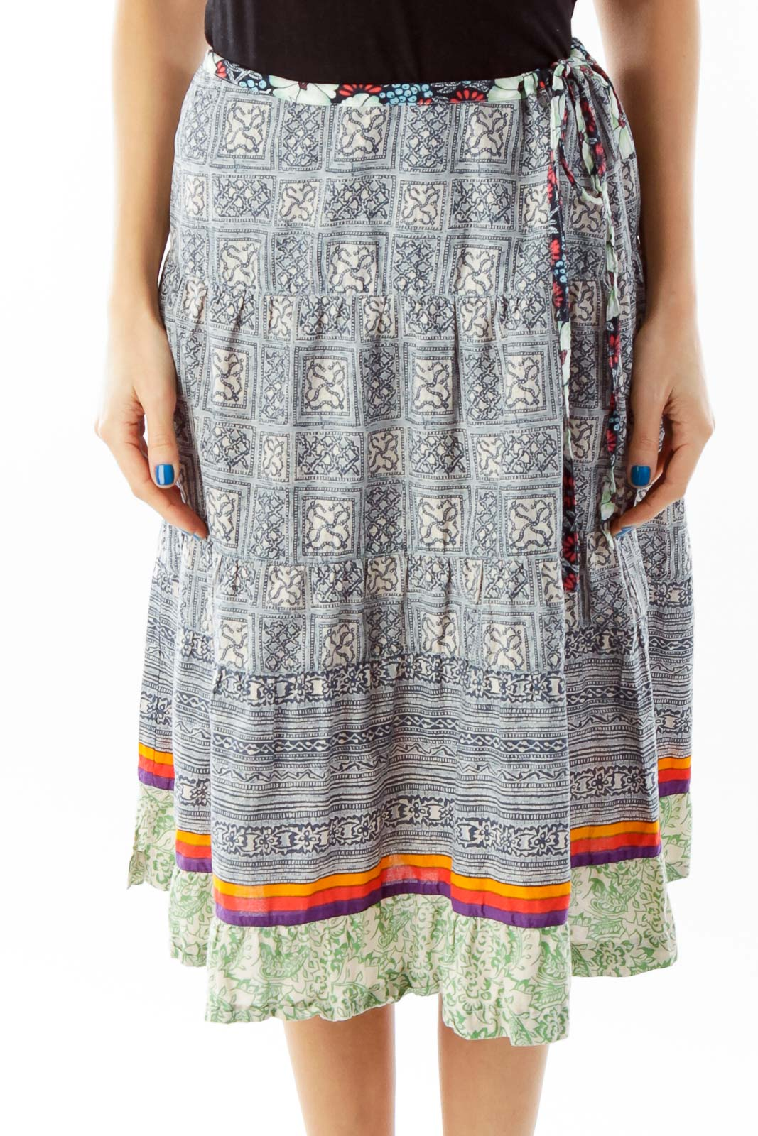 Multicolor Tribal Print Flared Skirt