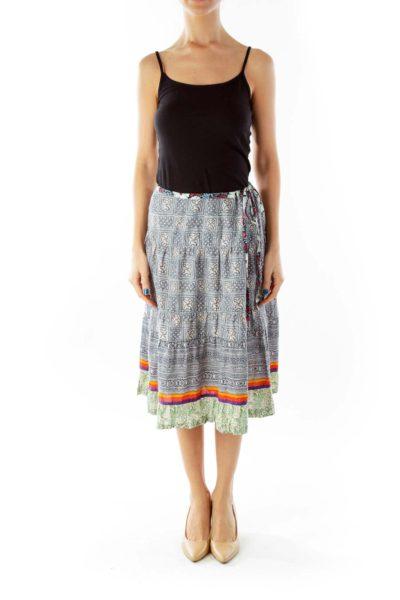Multicolor Tribal Print Flared Skirt