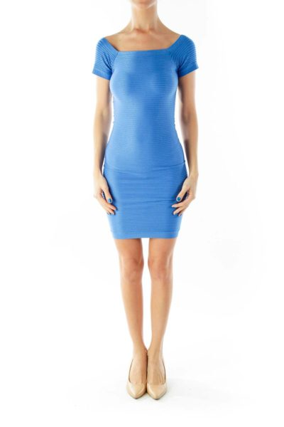 Blue Fitted Elastic Bodycon Cocktail Dress