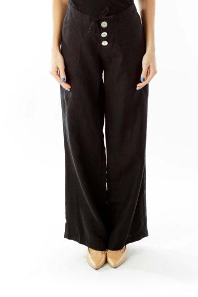 Black Button Fly Linen High-Waisted Wide-Leg Pants