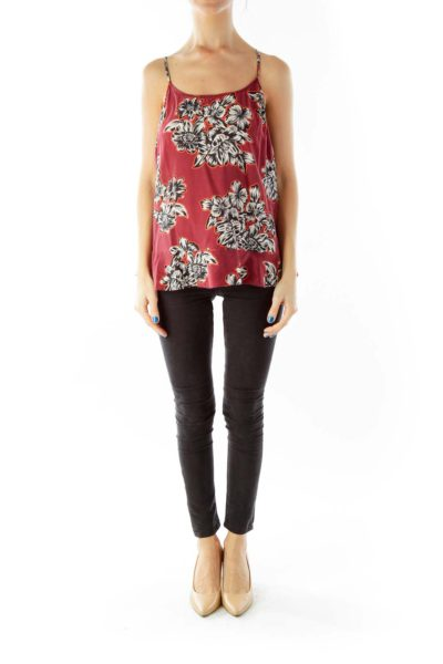 Wine White Black Spaghetti Strap Flower Print Top