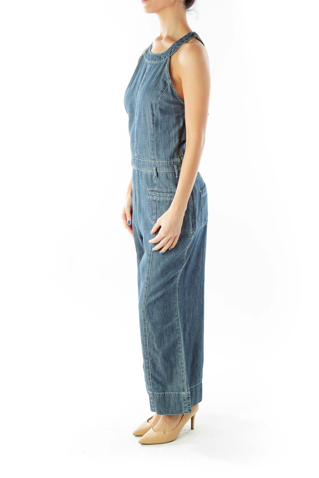 Blue Cropped Pocketed Wide-Leg Overall