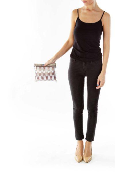 Brown Beige White Striped Polka-Dot Pouch