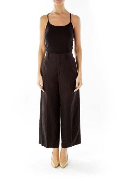 Black High-Waisted Wide -Leg Pocketed Pants