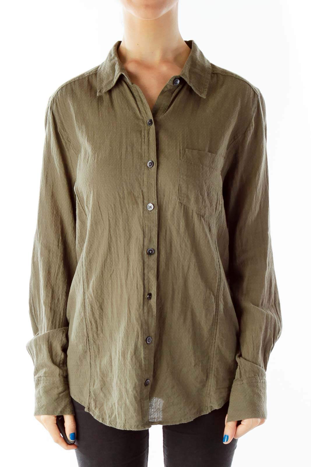 Army Green Pocketed Button Down Shirt