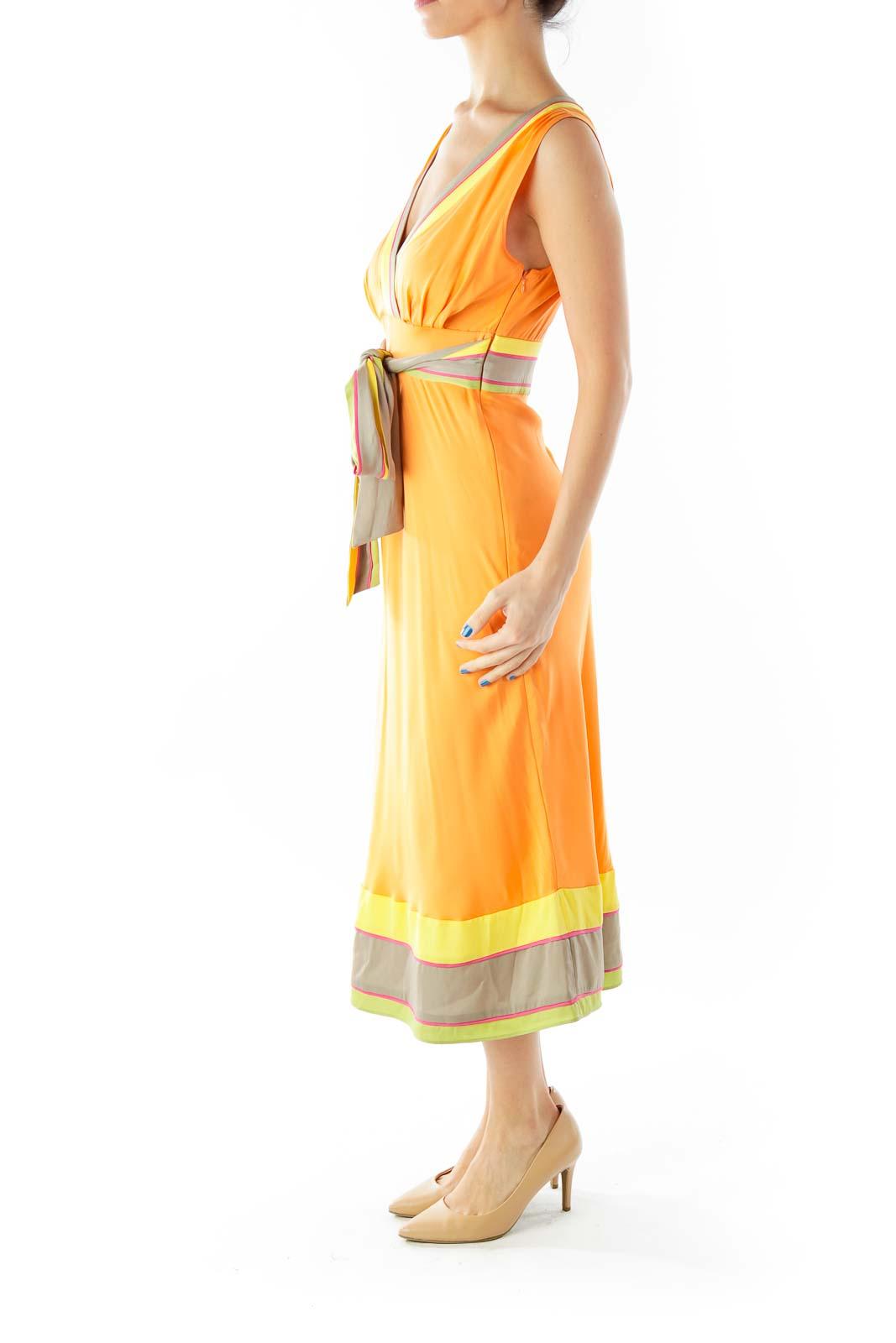 Orange Multicolor V-Neck Belted Day Dress