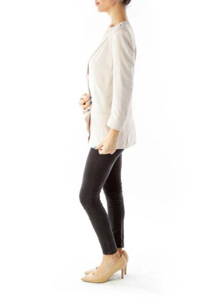 Beige Pocketed Open Front Padded Jacket