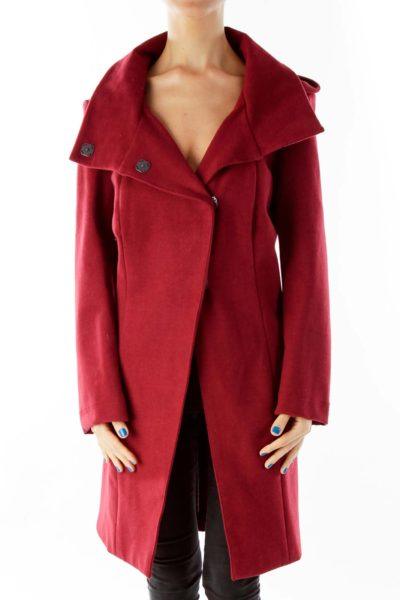 Wine Single Breasted Hooded Coat