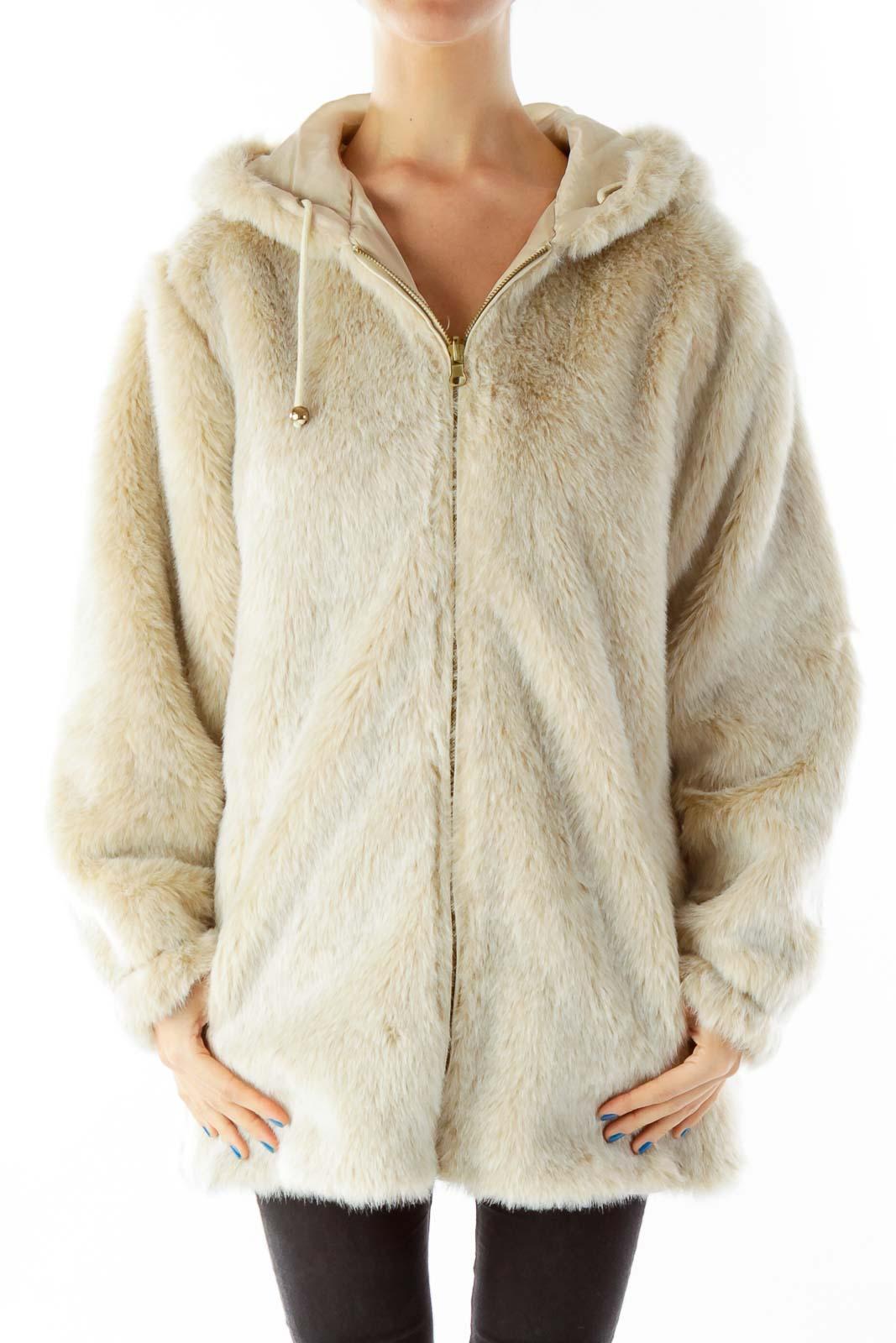 Beige Faux-Fur Hooded Jacket