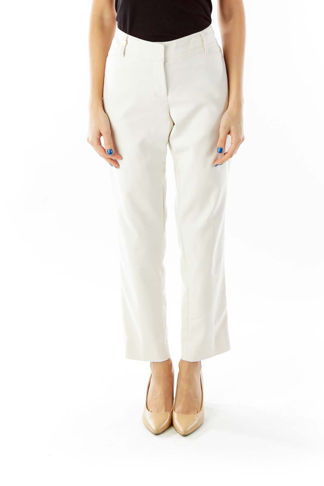 Cream Straight-Leg Slim Pants