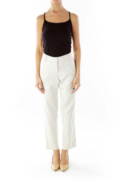 Cream Straight-Leg Slim Pants