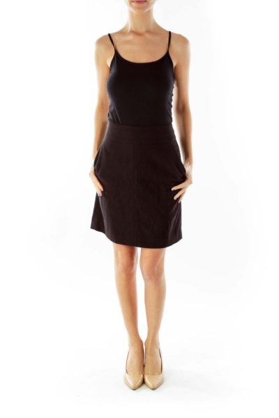 Black Pocketed Pencil Skirt