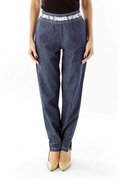 Blue Beaded Tapered Pants