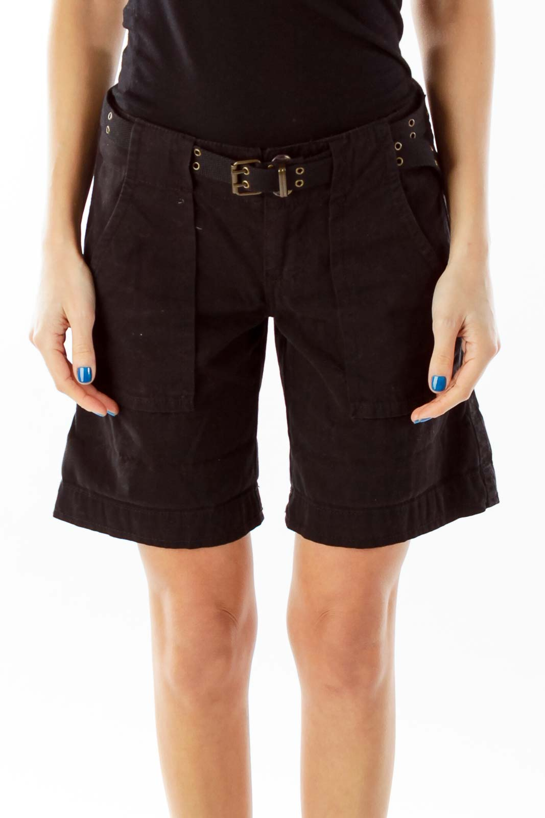 Black Belted Pocketed Shorts
