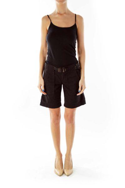 Black Belted Pocketed Shorts