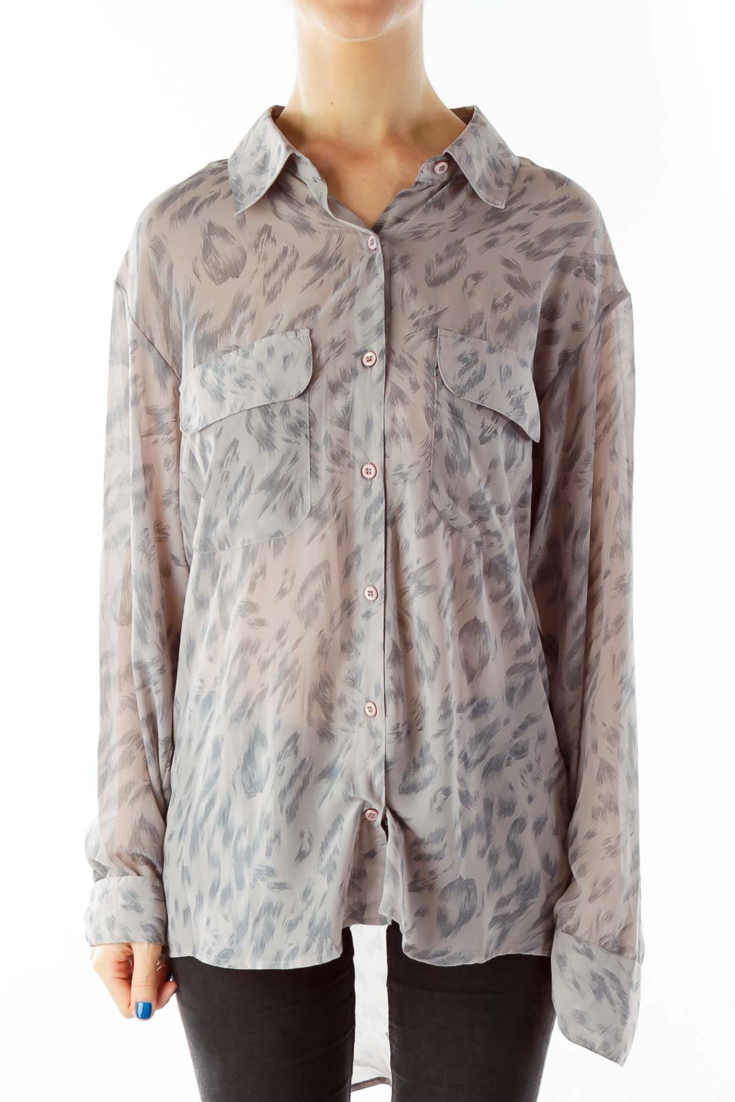Taupe Pocketed Print Button Down Blouse