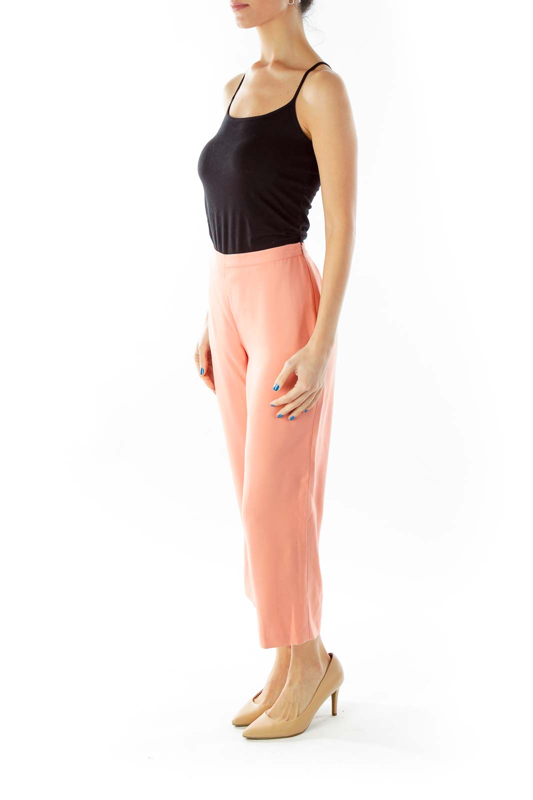 Peach High-Waisted Cropped Slacks