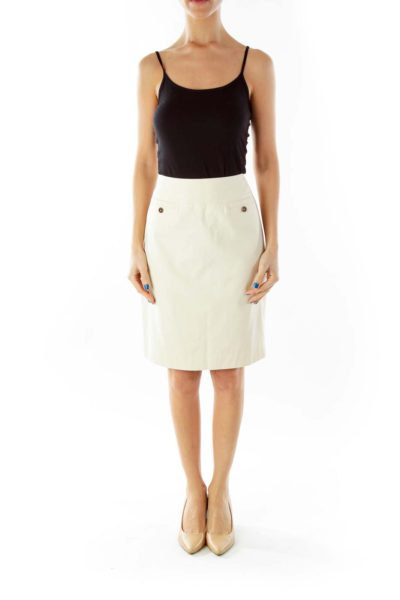 Beige Pocketed Pencil Skirt