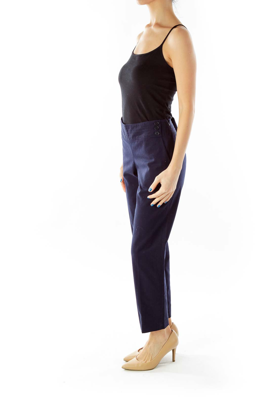 Navy Buttoned Cropped Pants