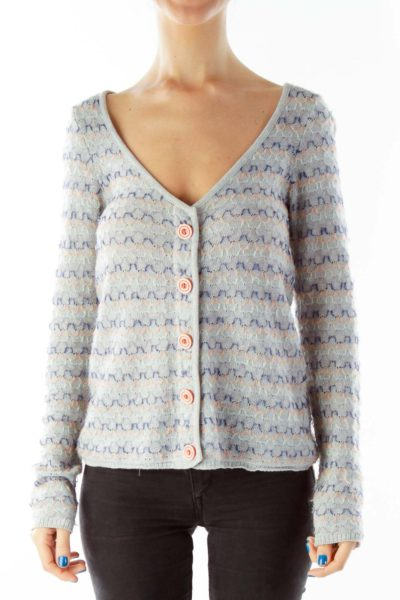 Gray Knitted Button Down Cardigan