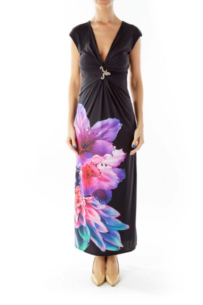 Black Flower Print Brooch Detail Maxi Dress