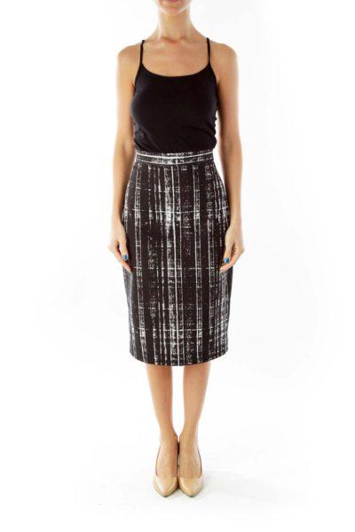 Black White Print Pencil Skirt