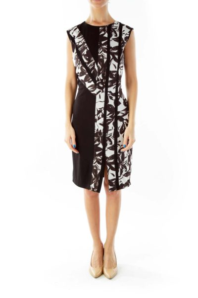 Black White Floral Work Dress