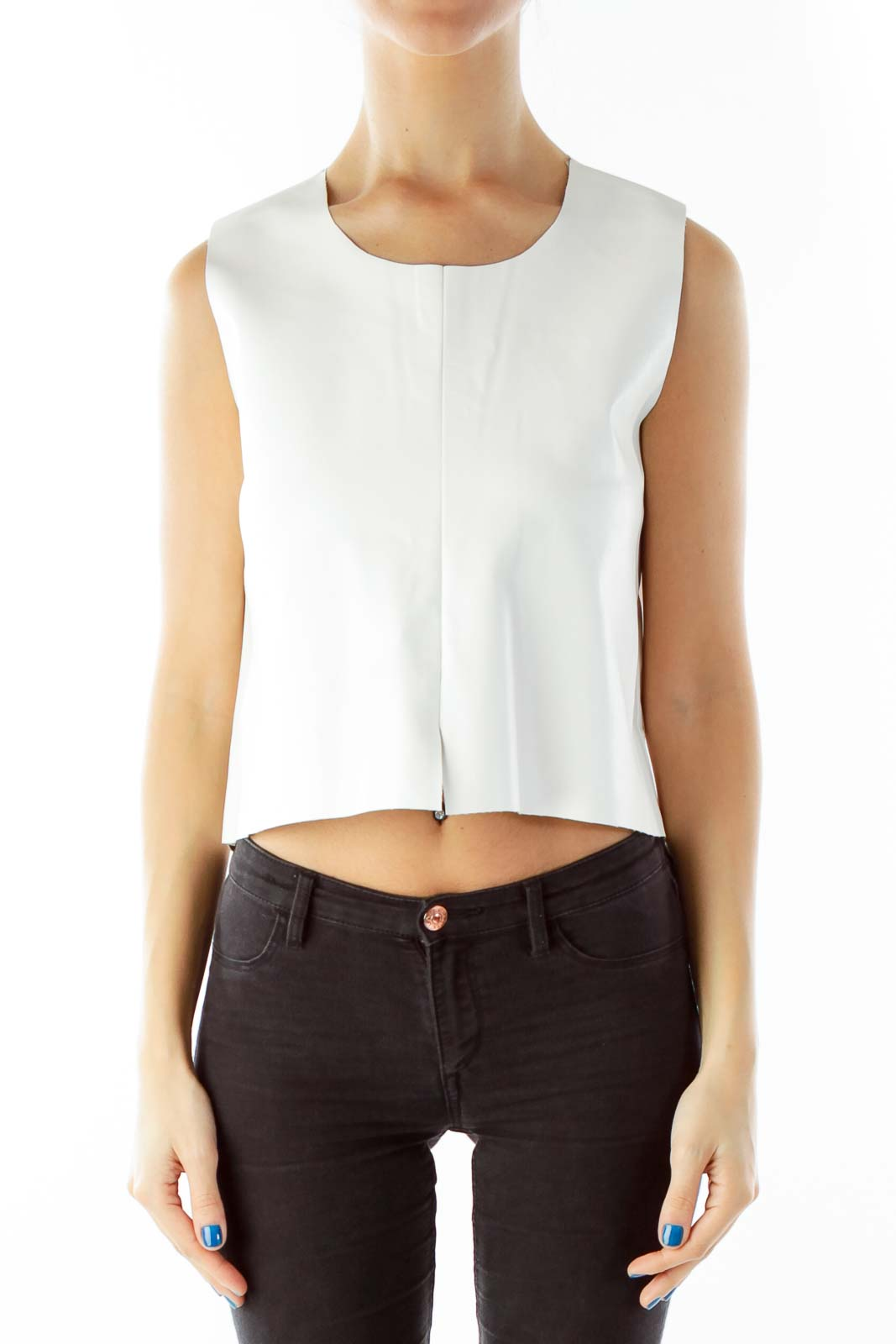 White Pleather Crop Top
