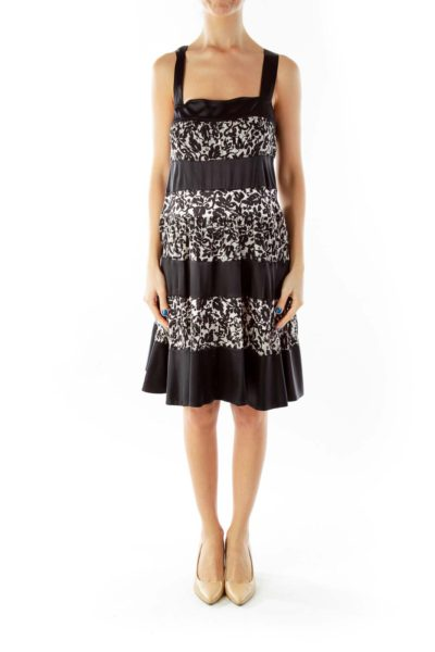 Black White Silk Dress