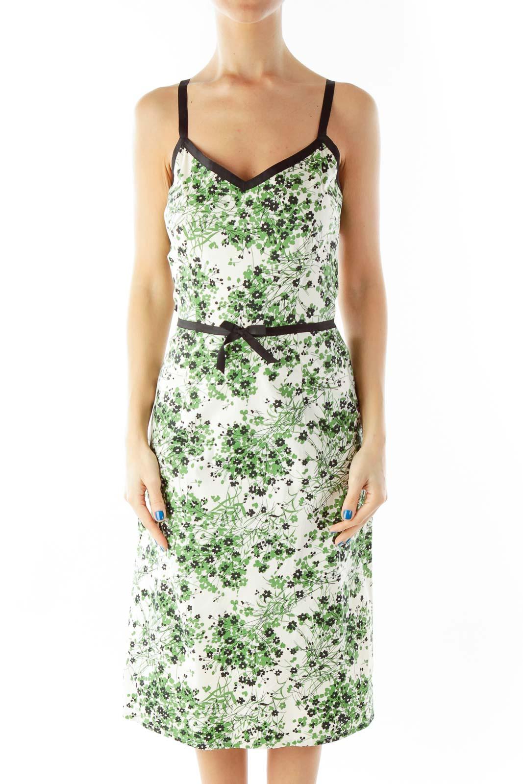 Green Cream Day Dress