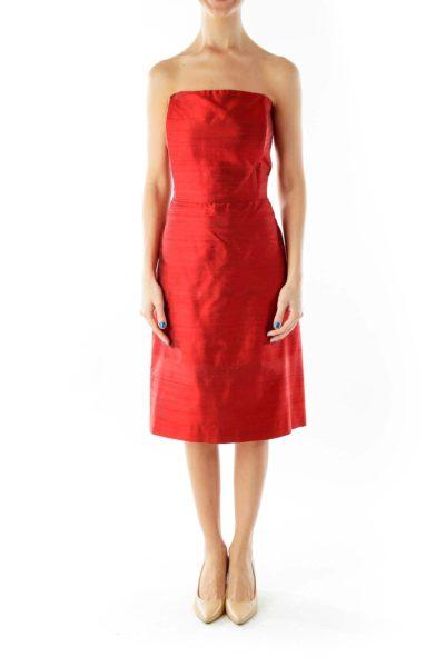 Red Satin Strapless Dress