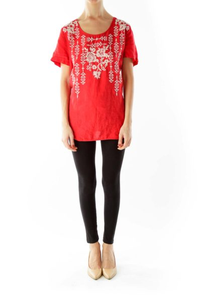 Red White Embroidered Tunic