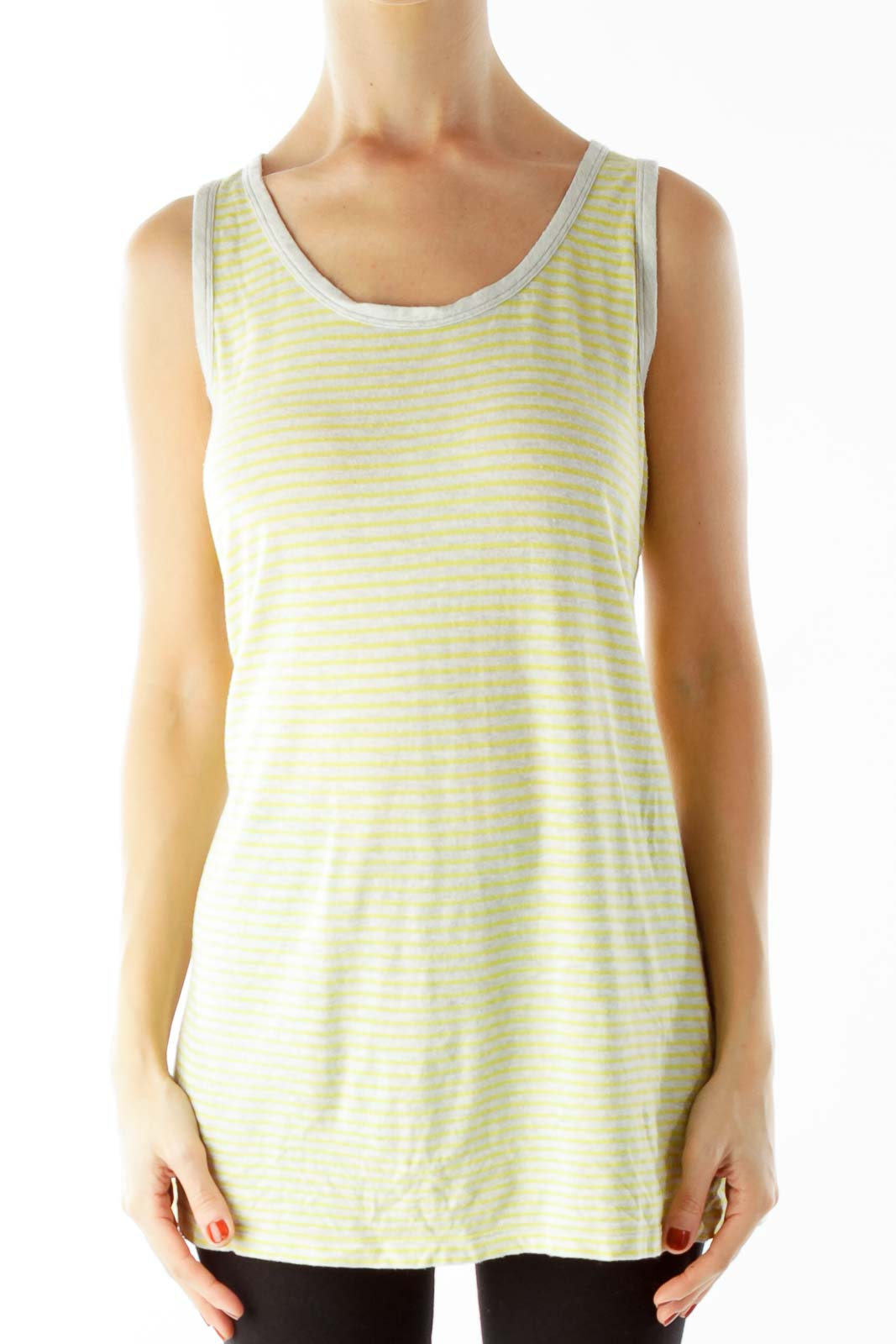 Yellow Gray Striped Cut-Out Tank Top