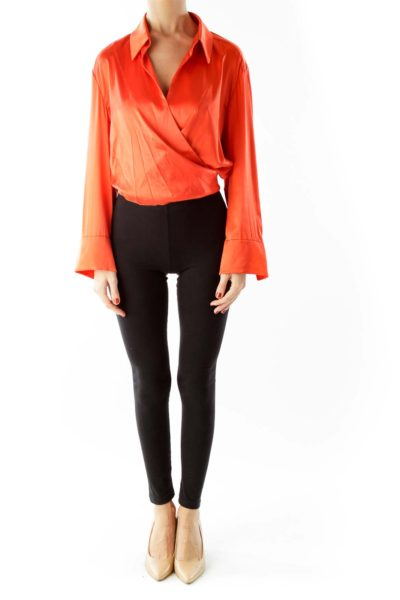 Orange Open Front Cropped Belted Blouse