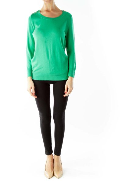 Green Buttoned Three Quarter Sleeve Knit Top