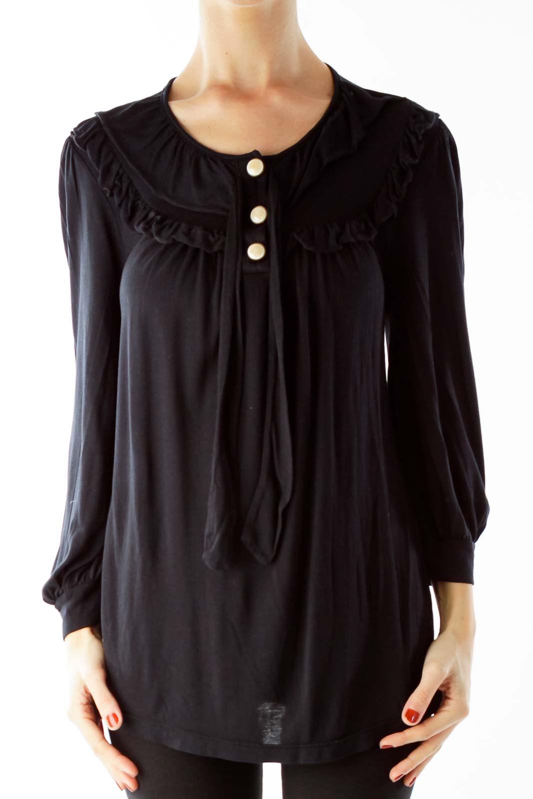 Black Three Quarter Sleeve Buttoned Bow Blouse