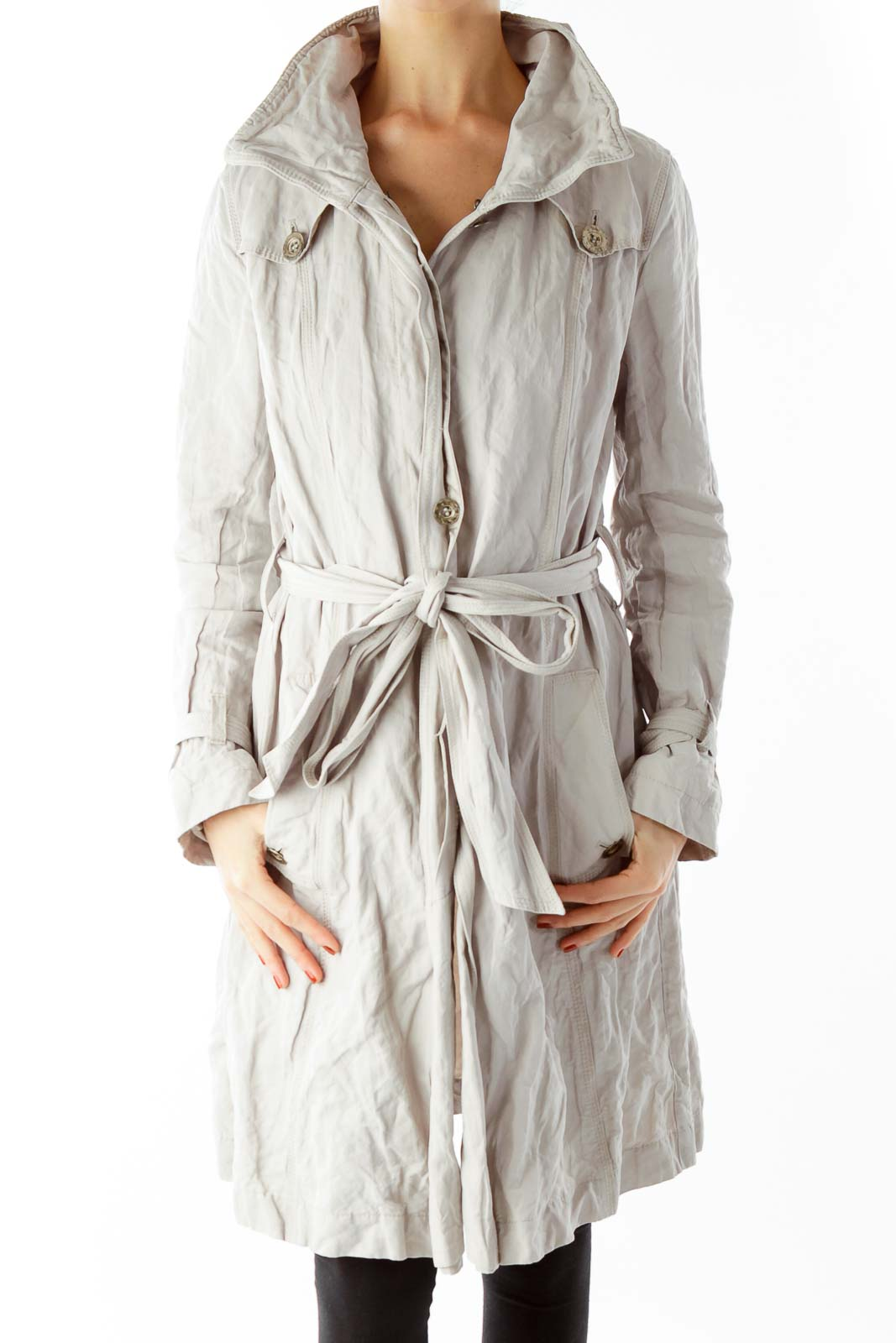 Beige Wrap Coat