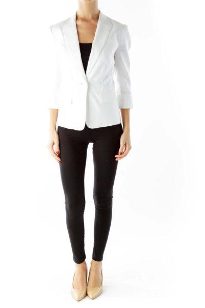 White Single-Breasted Three Quarter Sleeve Blazer