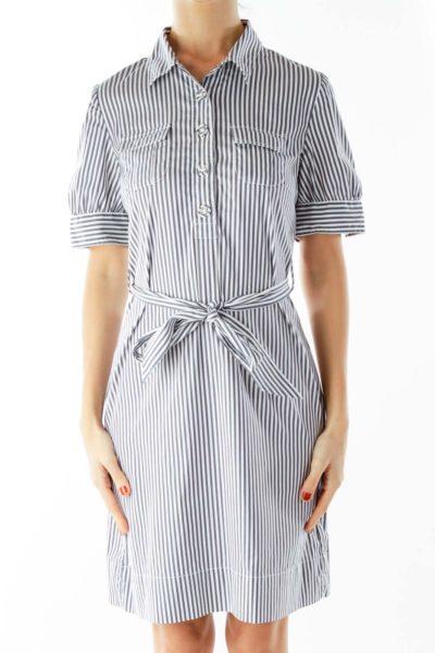 Blue White Striped Dress