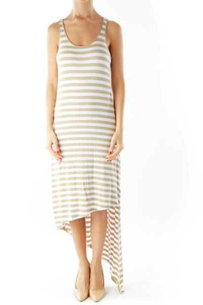 White Beige Striped Low-High Maxi Dress