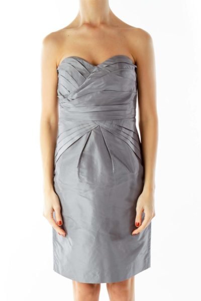 Gray Strapless Pleated Cocktail Dress