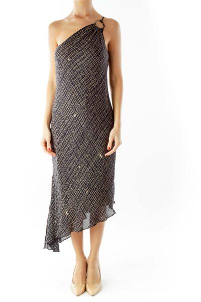 Navy Beige Print Dress