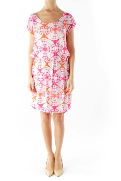Pink Orange White Tie Dye Day Dress