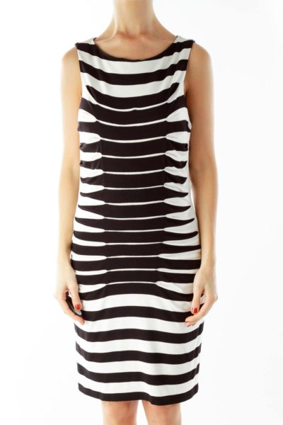 Black White Striped Fitted Dress