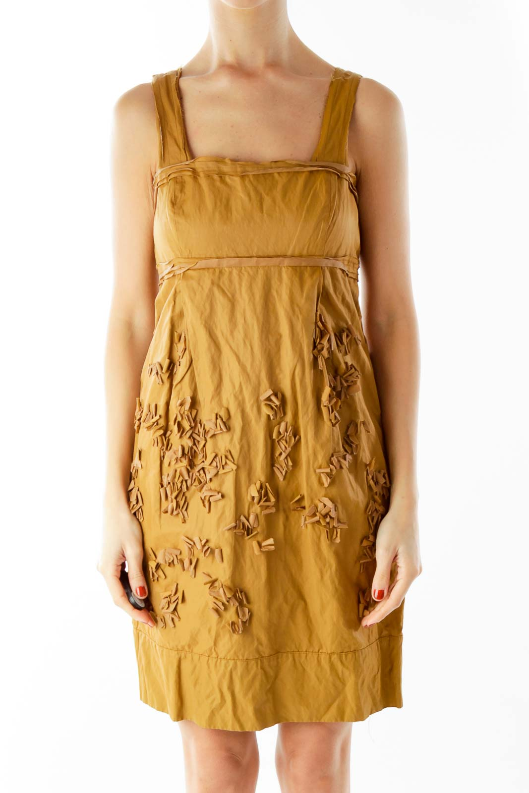 Brown Textured Day Dress