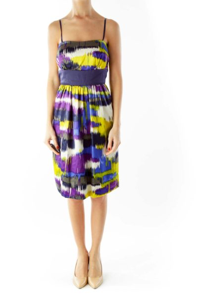 Multicolor Strapless Color Block Cocktail Dress