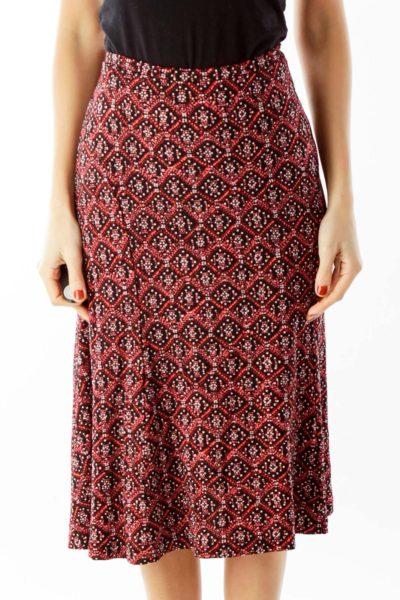 Red Black Geometric Print Flared Skirt