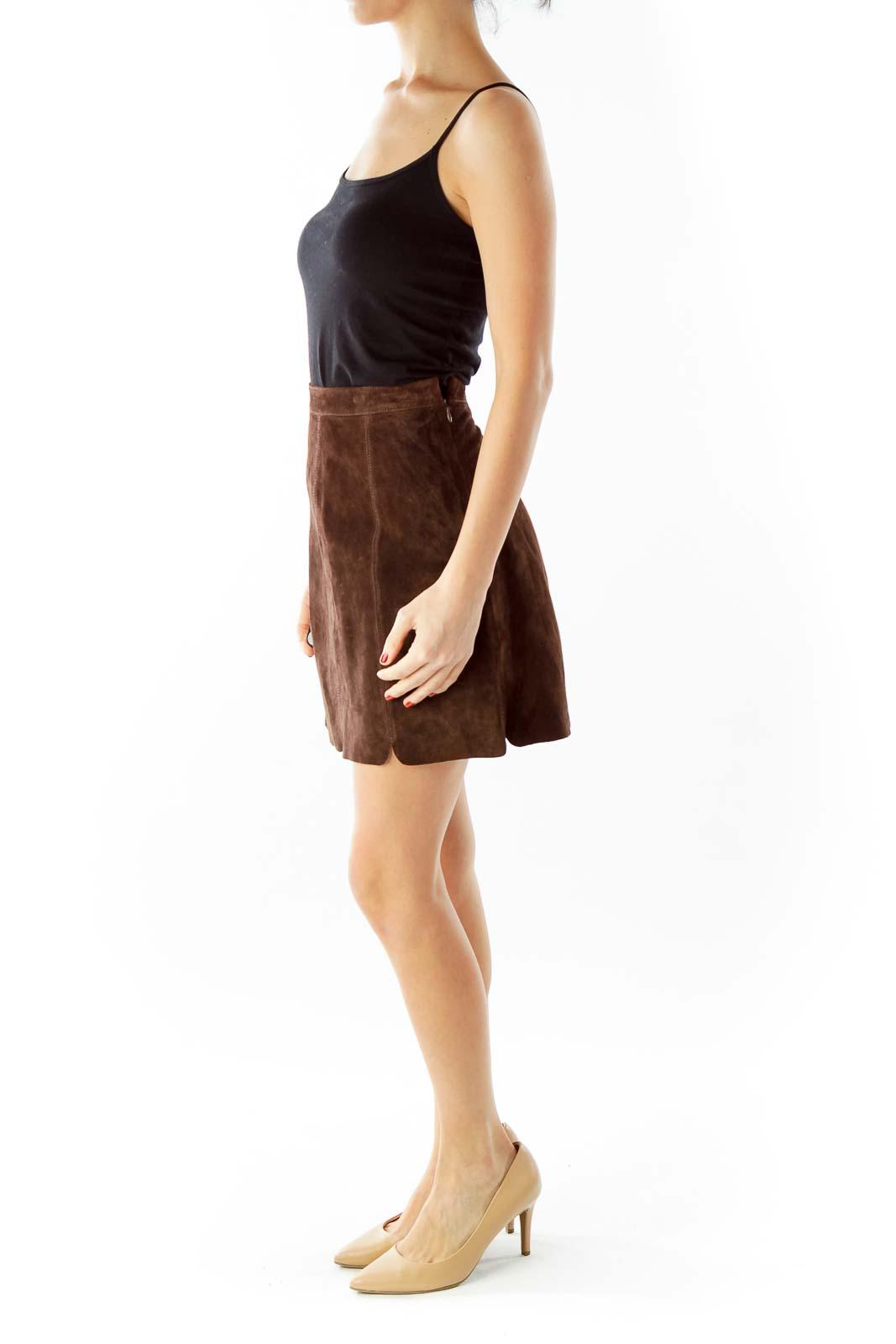 Brown Suede Mini Skirt