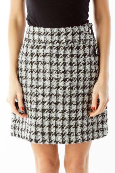 Black White Houndstooth Mini Skirt